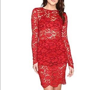 Lovers and Friends Red Lace Dream Girl Dress XS